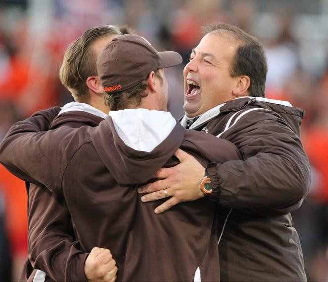 Pascack Hills coach Jim Soltmann (right) celebrates after his team won a state tournament shootout in 2015.