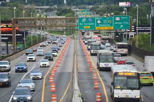 Repairs on the Route 495 bridge to the Lincoln Tunnel has closed the left lanes in each direction during the first rush hour in North Bergen on Monday morning August 20, 2018.