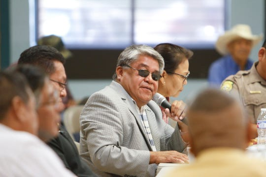 Executive Director for the Navajo Nation Division of Public Safety Jesse Delmar, speaks Monday during the Navajo Nation Council's Law and Order Committee meeting at the Shiprock Chapter house.