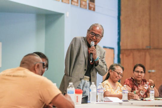 """At center, Shiprock Chapter President Duane """"Chili"""" Yazzie speaks Monday during the Navajo Nation Council's Law and Order Committee meeting at the Shiprock Chapter house."""