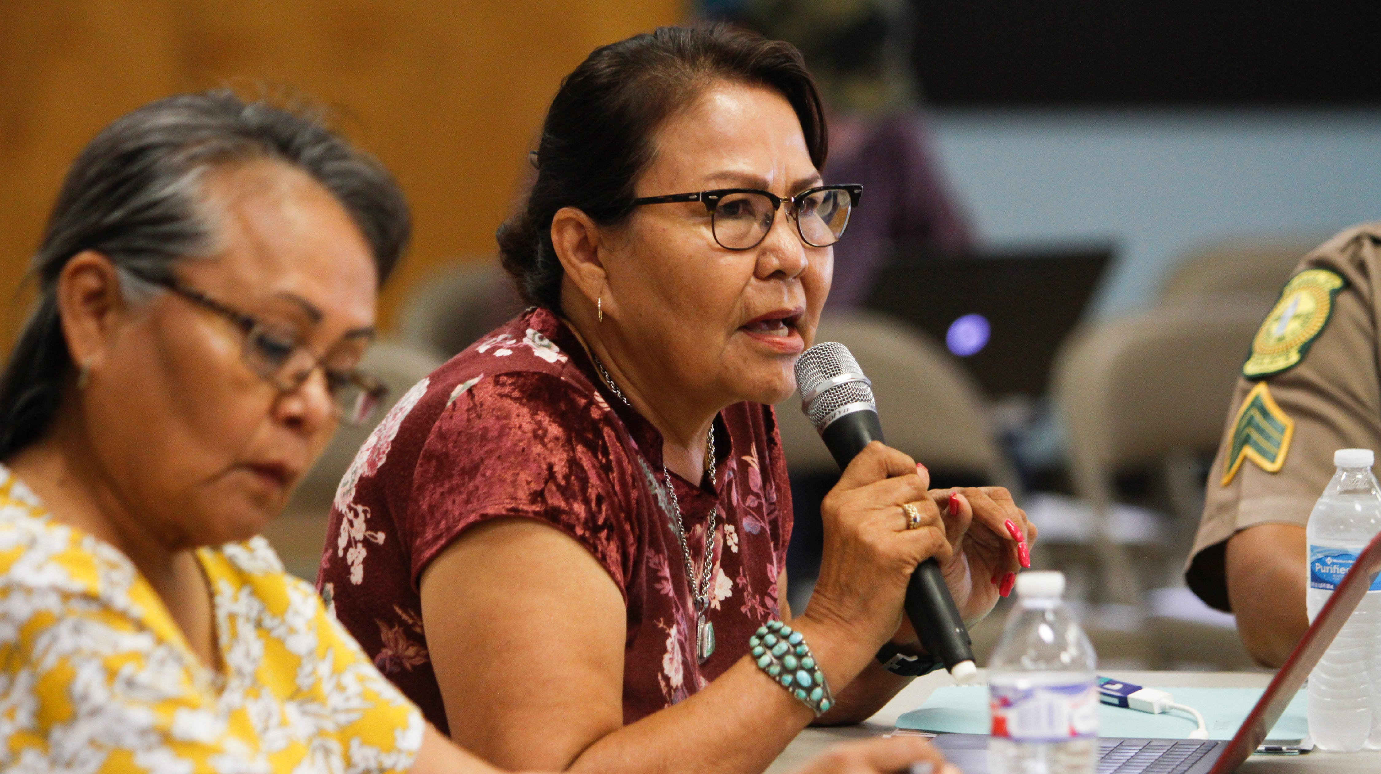 Delores Greyeyes, director for the Navajo Nation Department of Corrections, provides a project update for a courts and public safety building on Monday, Aug. 20, 2018 during the Navajo Nation Council's Law and Order Committee meeting at the Shiprock Chapter house.
