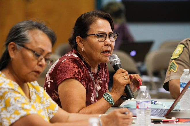 Delores Greyeyes, director for the Navajo Nation Department of Corrections, speaks Monday during the Navajo Nation Council's Law and Order Committee meeting at the Shiprock Chapter house.