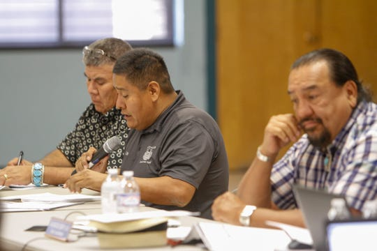 From left, Law and Order Committee members Herman Daniels Jr., Otto Tso and Vice Chairman Raymond Smith Jr., attend the Navajo Nation Council's Law and Order Committee meeting Monday at the Shiprock Chapter house.