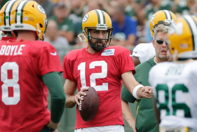 Green Bay Packers quarterback Aaron Rodgers (12) watches during training camp practice at Ray Nitschke Field on Monday, August 20, 2018 in Ashwaubenon, Wis.