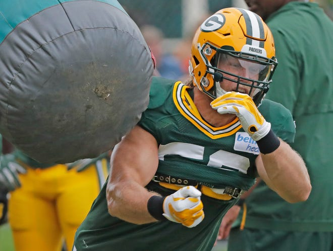 Green Bay Packers linebacker Clay Matthews (52) runs through a drill during training camp practice at Ray Nitschke Field on Monday, August 20, 2018 in Ashwaubenon, Wis.
