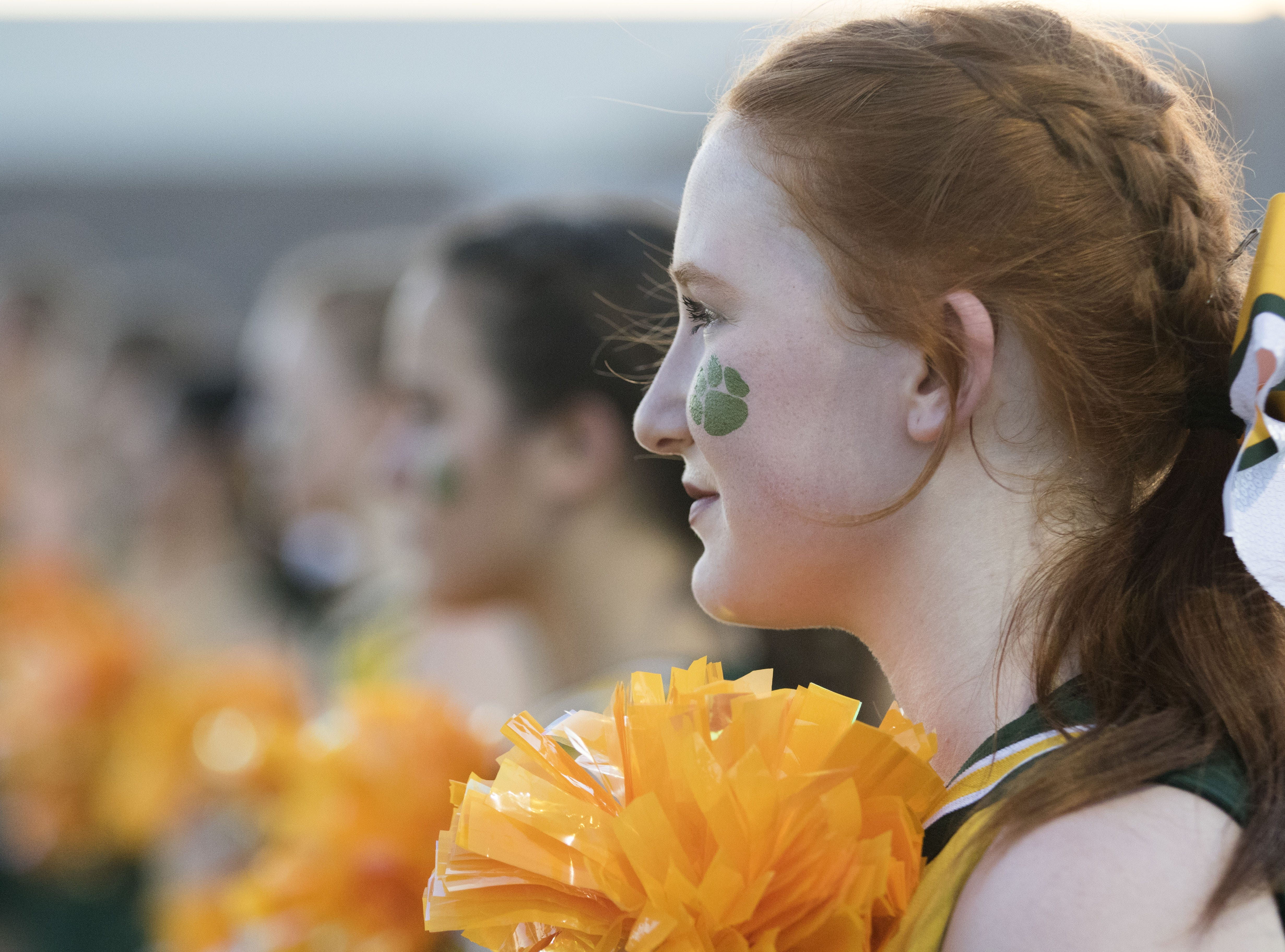 A Horizon cheerleader stands during the National Anthem before their game with Marana Friday, Aug.17, 2018.