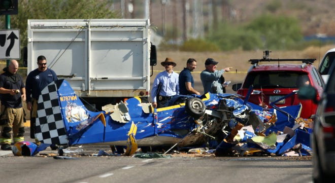 A plane crashed near Seventh Street and Deer Valley Road on Aug. 20, 2018, in Phoenix.