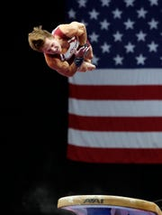 Allan Bower competes on the vault during the U.S. Gymnastics Championships at TD Garden.
