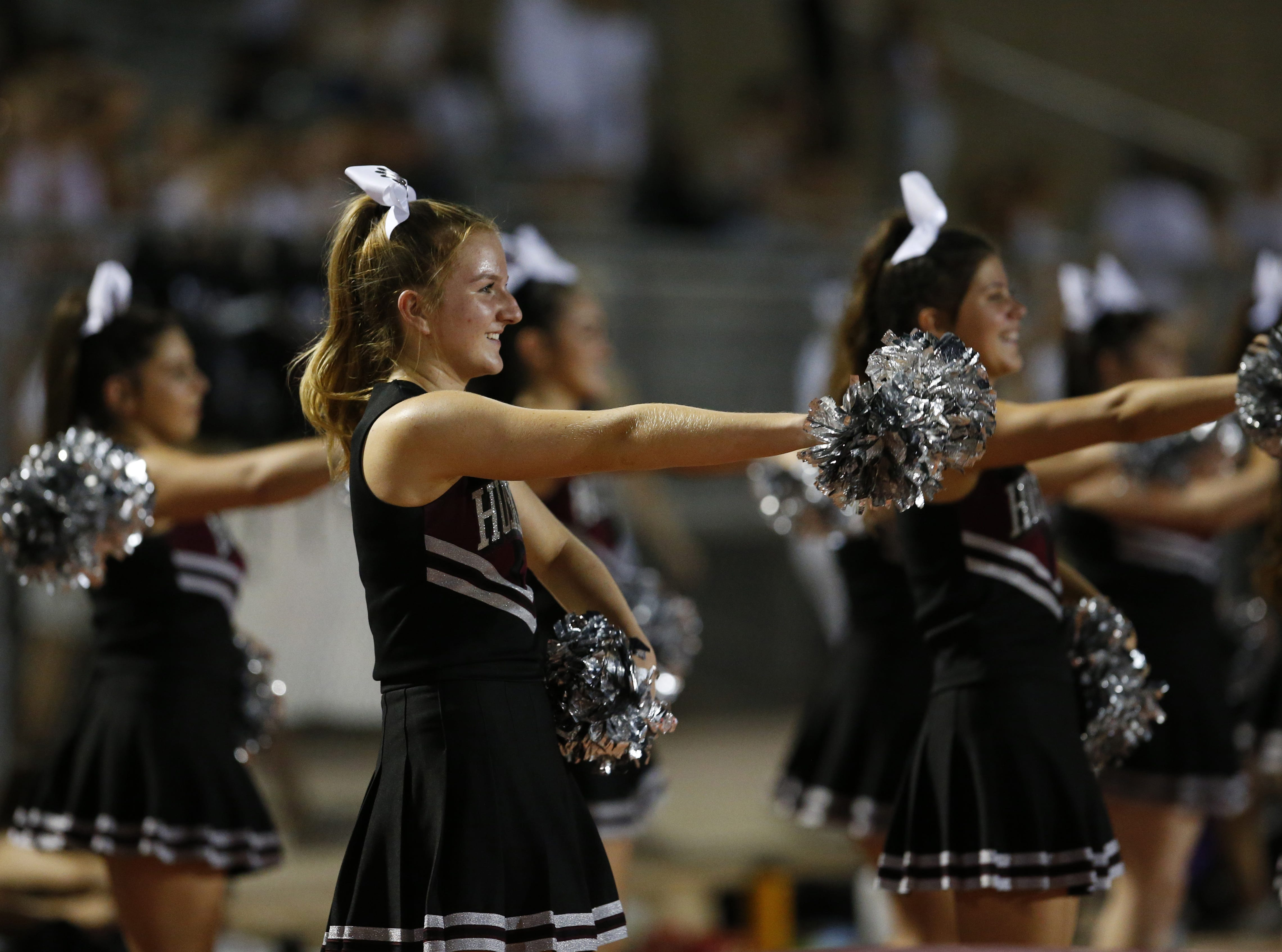 Hamilton 's cheer performs during a high school football game against Chaparral at Hamilton in Chandler on August 17, 2018. #hsfb