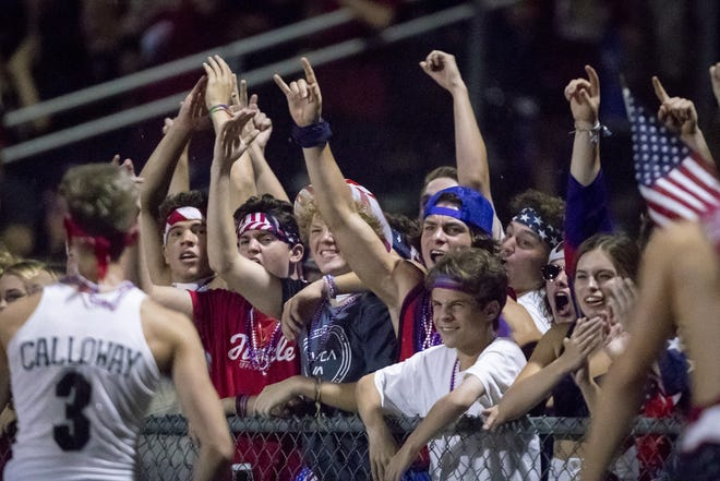 Perry fans cheer during the game against the Pinnacle Pioneers at Pinnacle High School on Friday, August 17, 2018 in Phoenix, Arizona.
