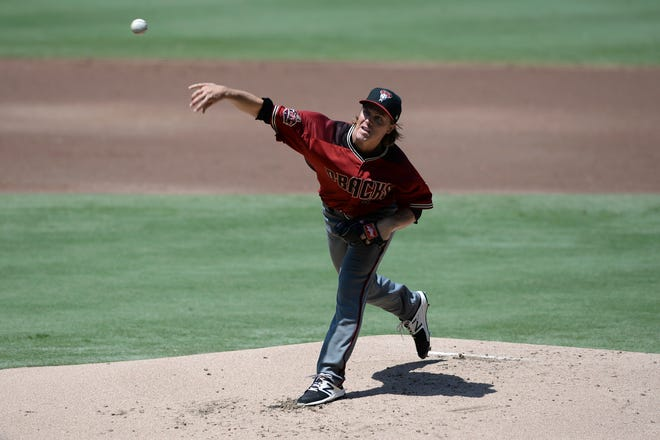 Arizona Diamondbacks starting pitcher Zack Greinke works against a San Diego Padres batter during the first inning of a baseball game Sunday, Aug. 19, 2018, in San Diego.