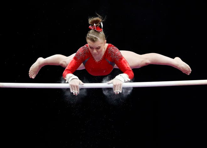 Jade Carey competes on the uneven bars during the U.S. Gymnastics Championships at TD Garden.