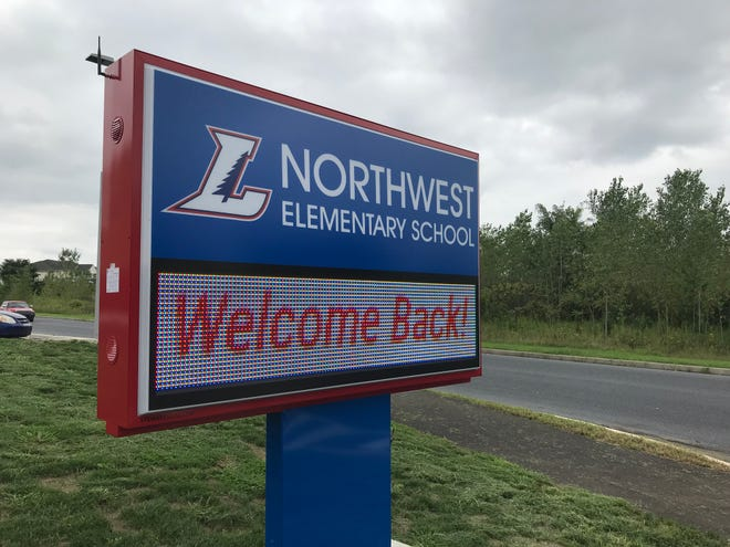 Sign in front of the new Northwest Elementary School, pictured on Aug. 20, 2018.