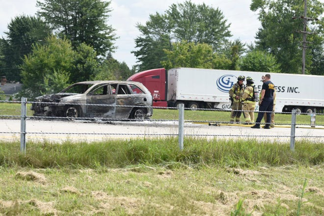 Firefighters were called to the scene of a vehicle fire on eastbound I-94 Monday afternoon.