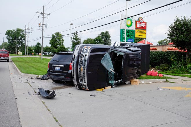 Minor injuries were reported following a crash on Wadhams Road Monday afternoon.