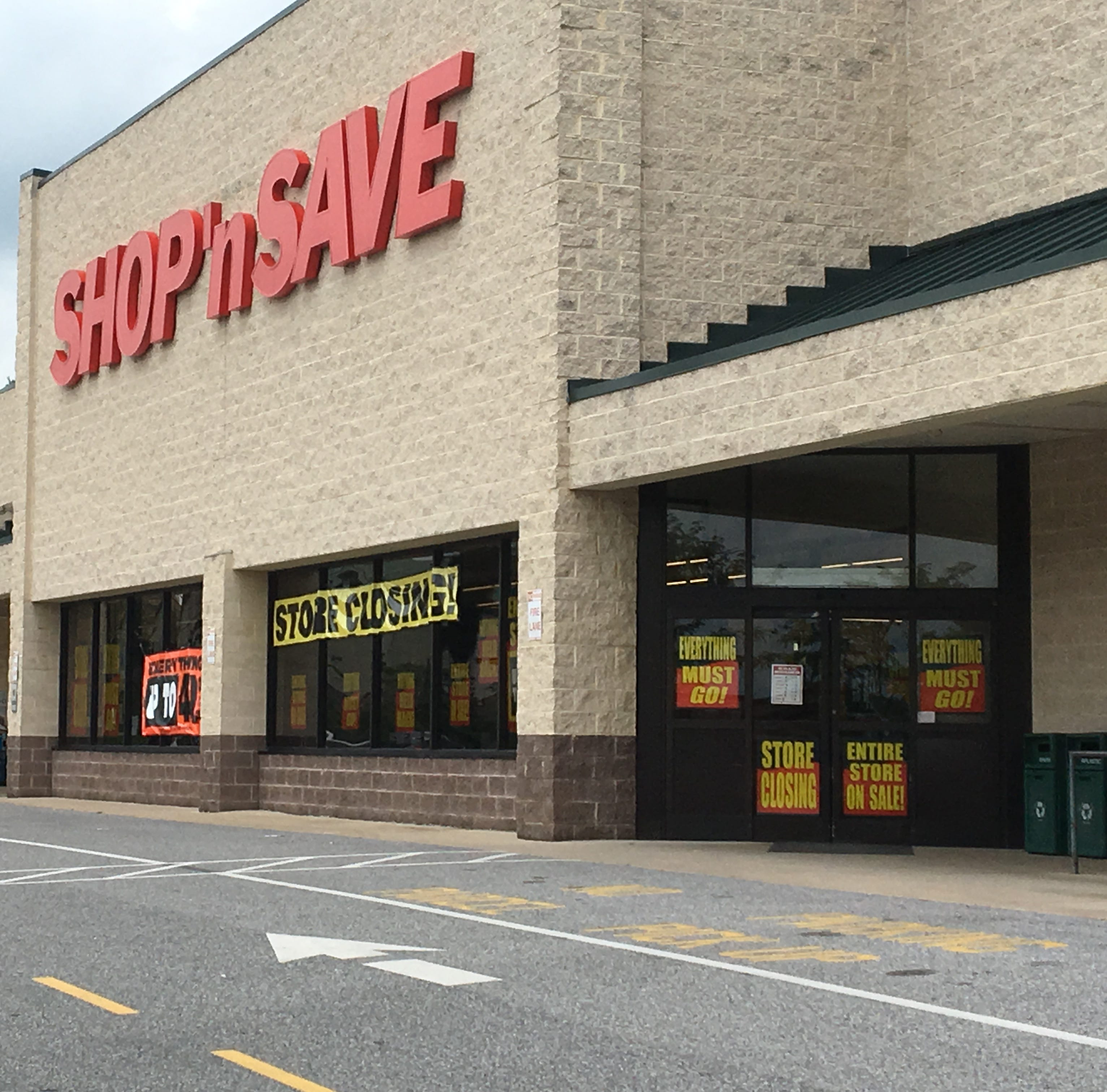 Supervalu Inc. is closing 13 of its 21 Shop 'N Save grocery stores in the East region by Sept. 8 including this store at 875 Lincoln Way West, Chambersburg.