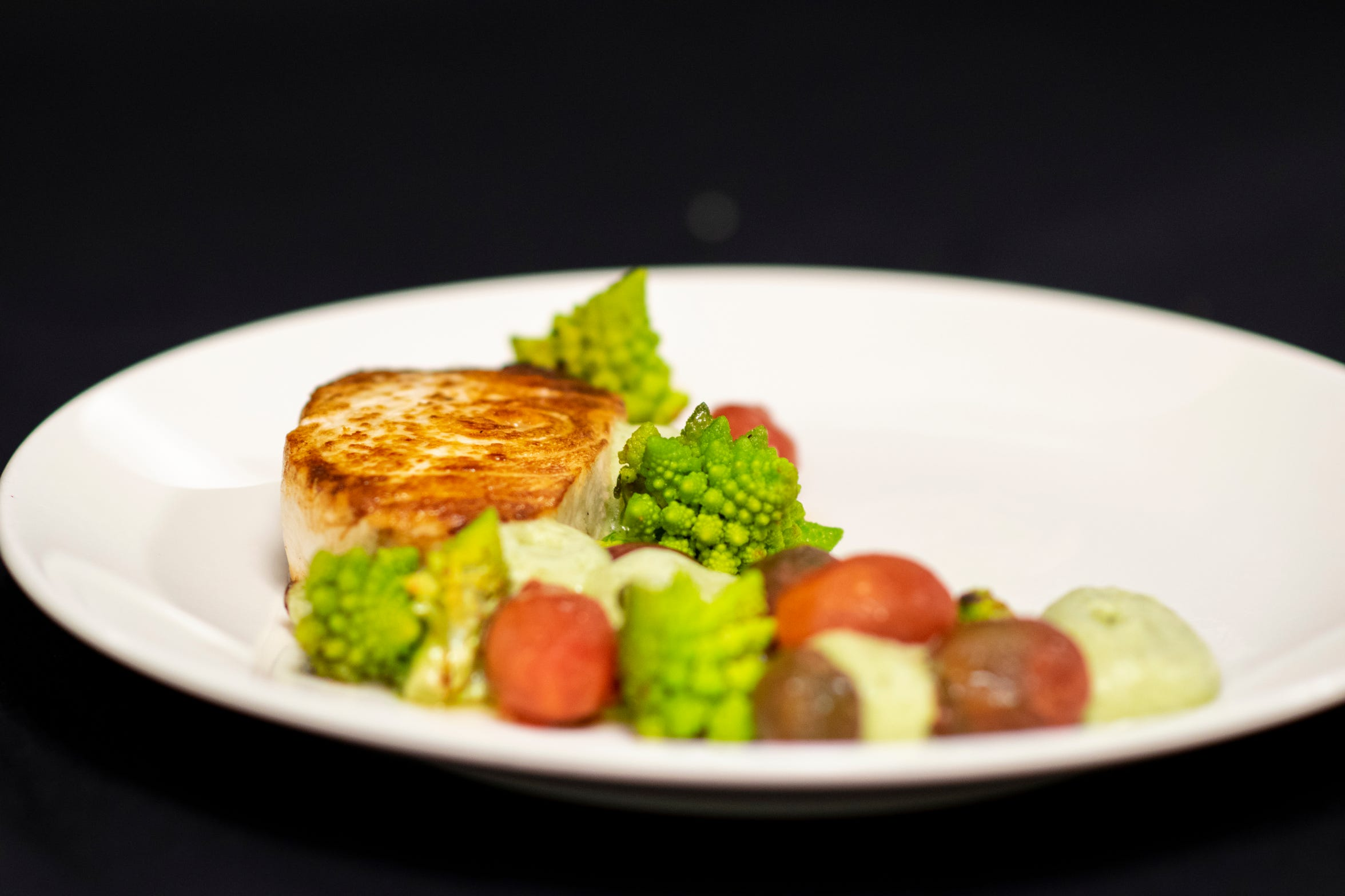 Pacific swordfish with fractal romesco broccoli is on the menu at the newly renovated Montagna in the Resort at Squaw Creek, Squaw Valley, Calif., on the North Shore of Lake Tahoe.