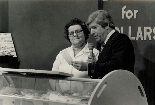 Joan Dreany of Sodus appears on Bowling for Dollars with host Ron DeFrance in 1977.