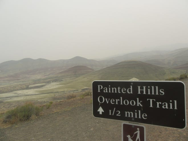 Smoke is thick at the Painted Hills unit of the John Day Fossil Beds National Monument in Eastern Oregon due to the