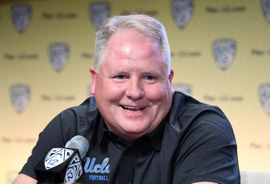 Jul 25, 2018; Hollywood, CA, USA: UCLA Bruins coach Chip Kelly during Pac-12 Media Day at Hollywood & Highland.