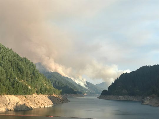 The Terwilliger Fire is burning along Cougar Reservoir in Willamette National Forest.