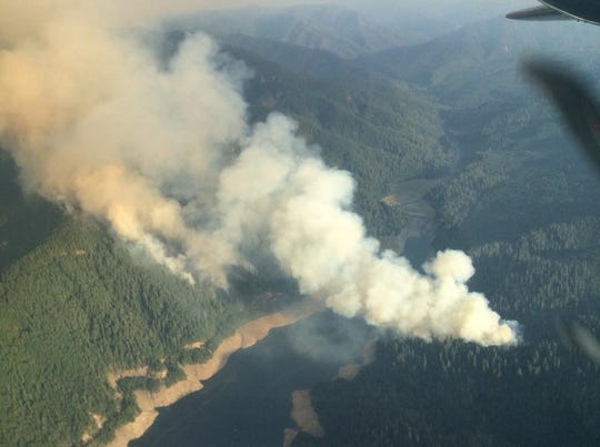The Terwilliger Fire roared out above Cougar Reservoir on Sunday.