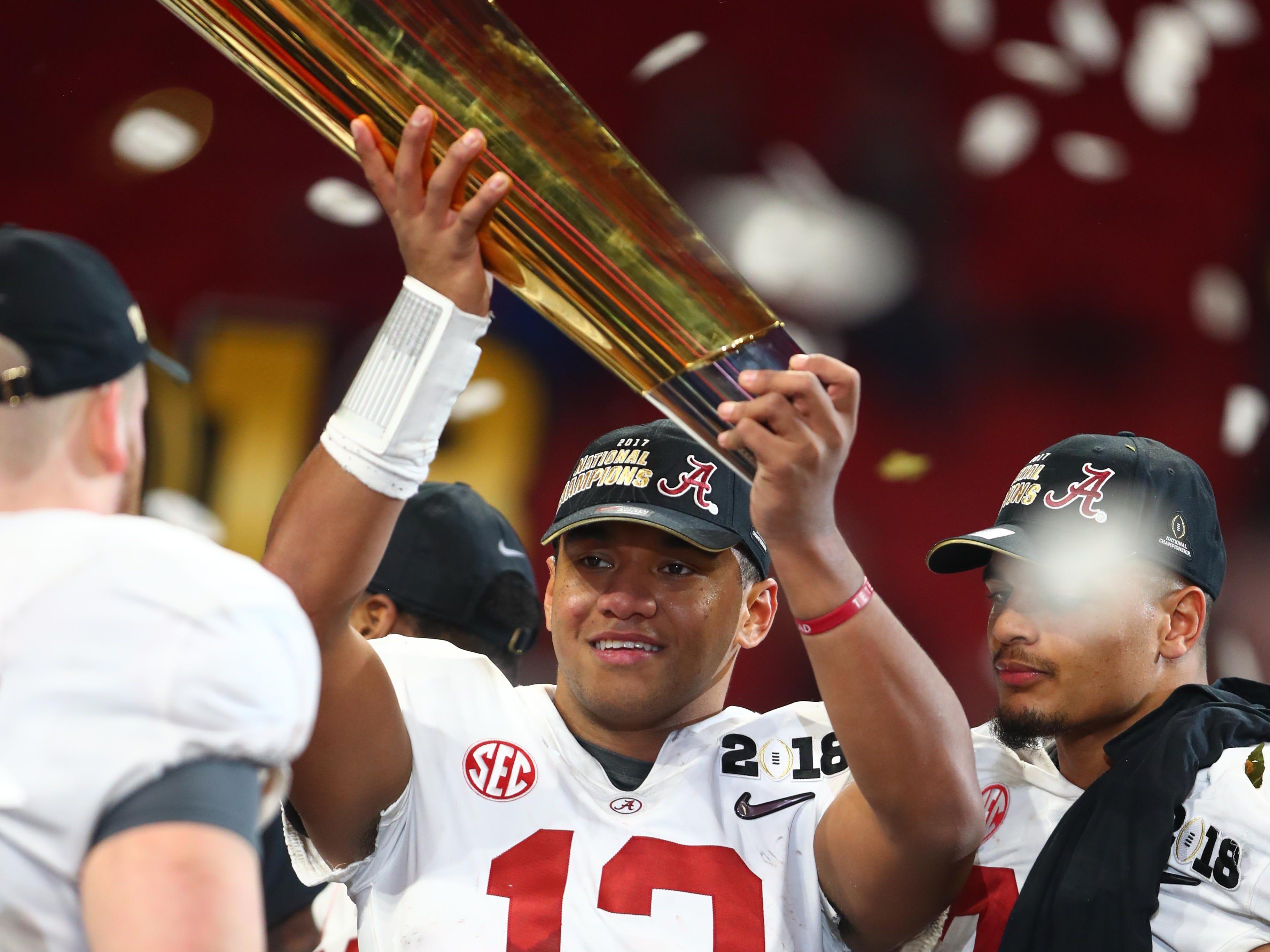 Jan 8, 2018; Atlanta, GA, USA; Alabama quarterback Tua Tagovailoa was the hero of last season's national championship game victory over Georgia.