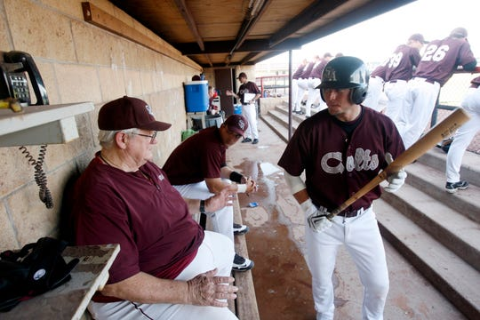 San Angelo Colts manager Doc Edwards gives some last-minute hitting advice to Hunter Jobes (right) during a game at Foster Field in June 2009.