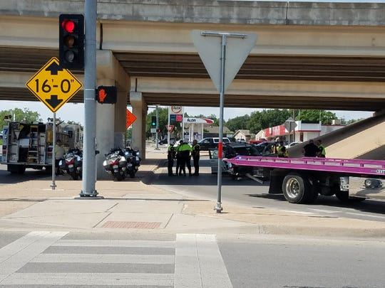 San Angelo authorities respond to a crash at College Hills Boulevard and Loop 306 underpass on Monday, Aug. 20, 2018.