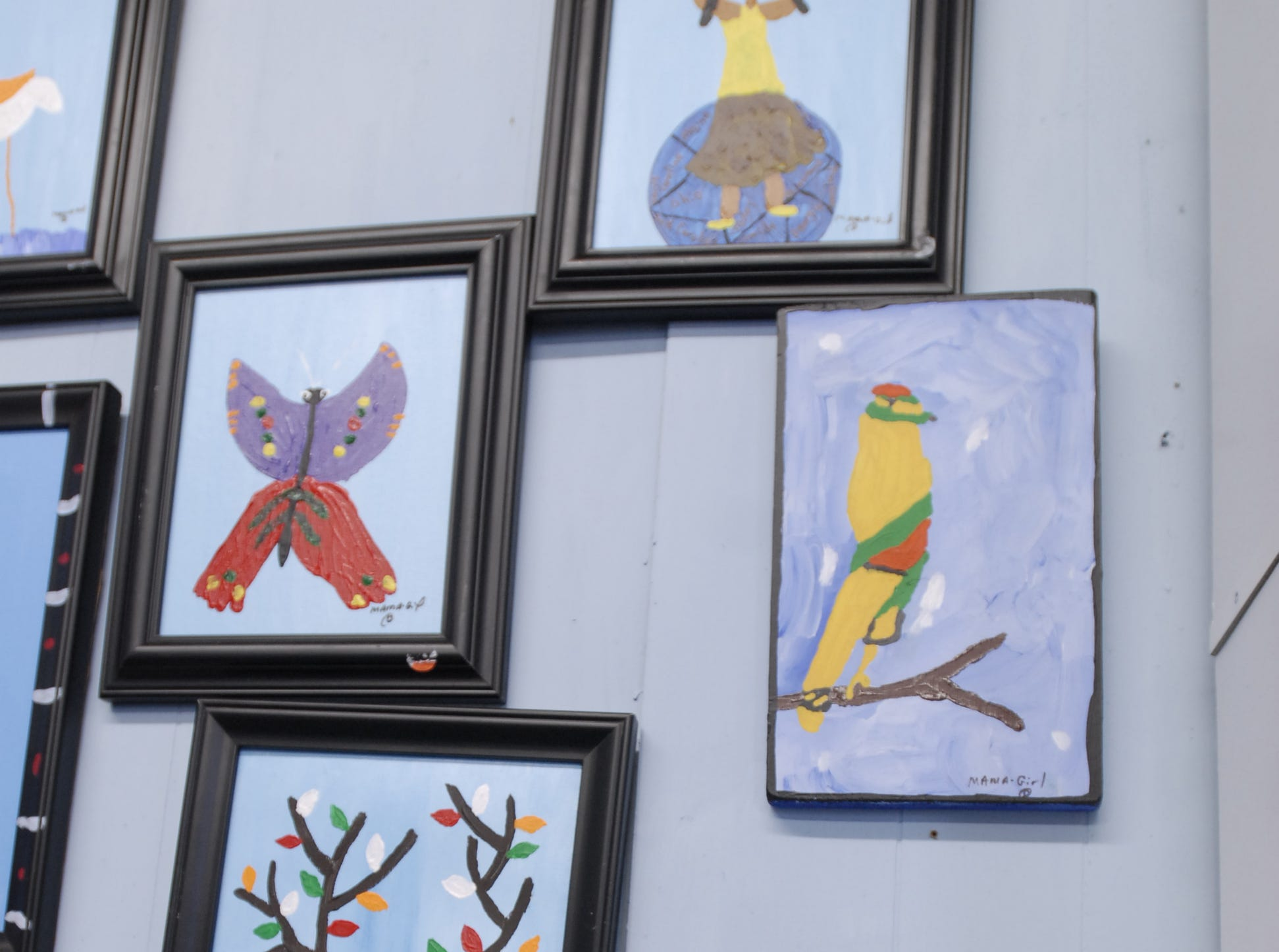 A collection of pieces created by Mama Girl in paper and paint at her studio near Painter.