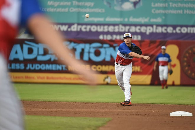 The Delmarva Scrapple's Cadyn Grenier at shortstop  against the Rome Braves on Saturday, August 18, 2018 at the Arthur Perdue Stadium.