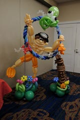 This beach-themed display of an octopus, crab, swimmer and even the Bethany Beach totem pole took hours to make, said Renate McIntosh.