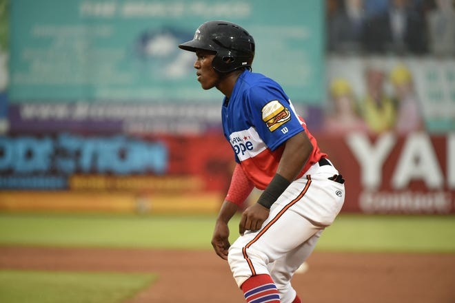 The Delmarva Scrapple's Jean Carlos Encarnacion at first against the Rome Braves on Saturday, August 18, 2018 at the Arthur Perdue Stadium.