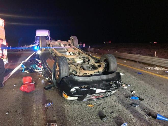 Officials say the four occupants who were in this SUV, which rolled on Interstate 15 outside Mesquite, were taken to the hospital early Aug. 20, 2018.