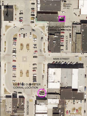 Stevens Point Mayor Mike Wiza has proposed moving a garbage dumpster corral located on the main square downtown to a location tucked away and out of public view.