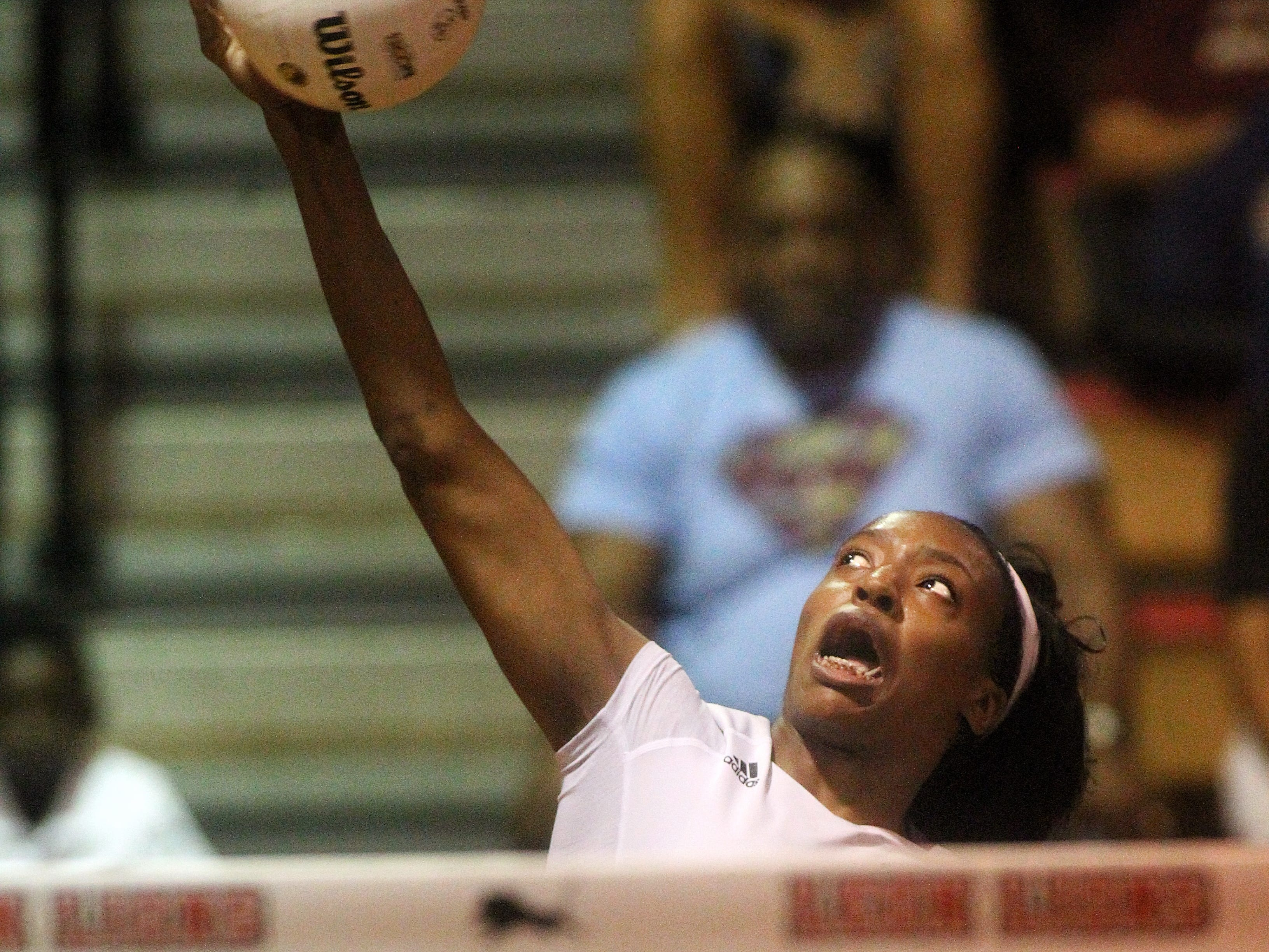 Florida High's Jada Rhodes goes up for a kill during a preseason match Saturday against Leon.