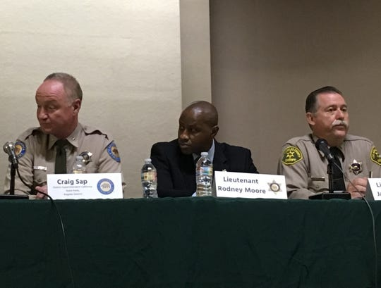 Craig Sap, district superintendent with California State Parks, Lt. Rodney Moore of Los Angeles County Sheriff's Department, Lt. James Royal with LASD Lost Hills Station, came to Calabasas Sunday to talk about the Malibu Creek and Malibu Canyon shootings.