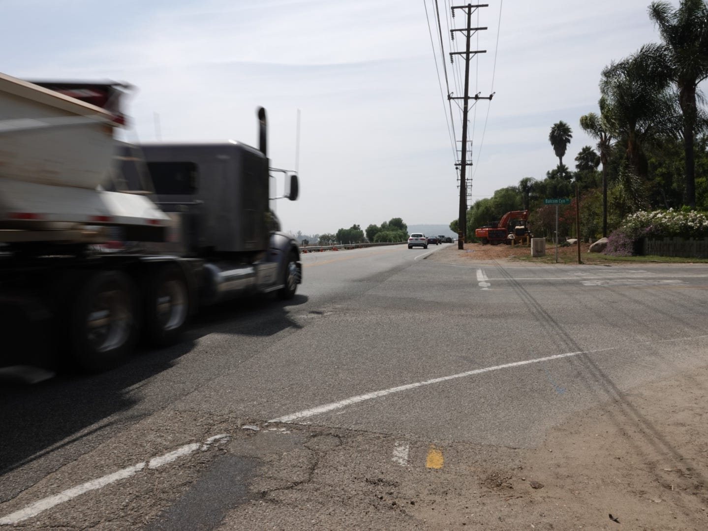 Looking west on Highway 118, where a westbound semitrailer hit a sedan trying to turn left from Balcom Canyon Road Aug. 10. The crash killed a 9-year-old boy and left his 7-year-old sister in critical condition.
