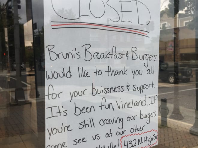 A sign on the door at Bruni's Breakfast & Burgers on Landis Avenue in Vineland lets customers know the restaurant has closed.