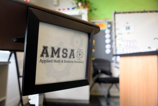 A AMSA Academy sign hangs in one of the classrooms at the former Johnstone Elementary School in Vineland on Monday, August 20.