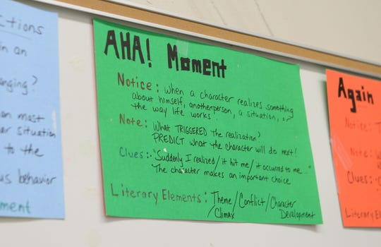 Helpful tips on display in one of the AMSA Academy classrooms at the former Johnstone Elementary School in Vineland on Monday, August 20.