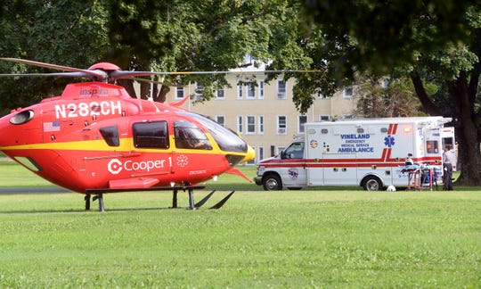 A motorcyclist was airlifted to Cooper University Hospital following a crash at Main Road and Adams Avenue in Vineland on Monday, August 20.
