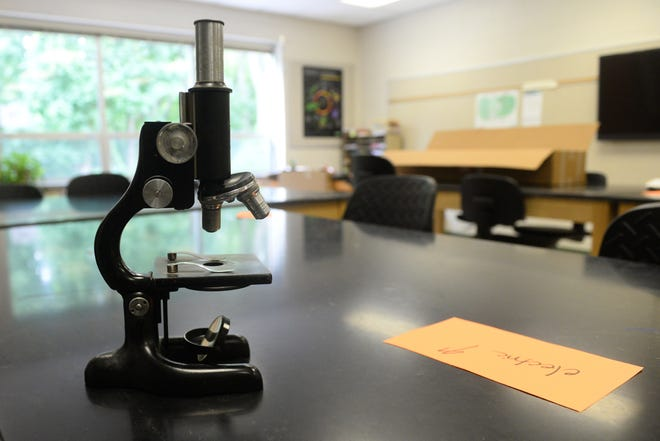 A microscope sits atop a desk in a AMSA Academy science classroom at the former Johnstone Elementary School in Vineland on Monday, August 20.