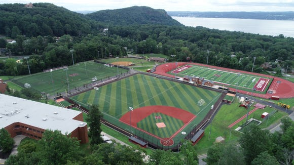 Drone photograph of Nyack High School's athletic facilities on Monday.