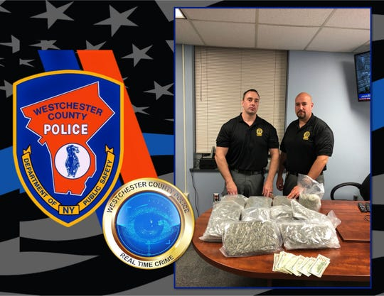 Westchester County police with 12 pounds of marijuana they seized during a traffic stop Aug. 15, 2018, on the Hutchinson River Parkway. Tan Van Nguyen, 55, of Randolph, Massachusetts, was arrested.