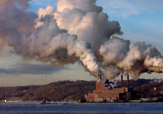 The Danskammer electric power plant in the Town of Newburgh, pictured here in 2004, used to be one of the states worst air polluters when it burned coal. Now, the plant is being restarted with much cleaner natural gas.This February, 2004 view of emissions from the Danskammer electric power plant, pictured, and the Roseton plant, not pictured, was taken from New Hamburg looking west across the Hudson River. The visible substance coming from the smokestacks is mostly steam, however the plants emitted 12 regulated toxic substances in 2001, totaling 1.8 million pounds, according to the Environmental Protection Agency's most current data. Most of the regulated emissions, pound for pound, are in the form of hydrochloric acid and sulfuric acid. Other regulated toxic pollutants emitted include lead, mercury and other metals. The plants are the top air polluters in the mid-Hudson Valley.