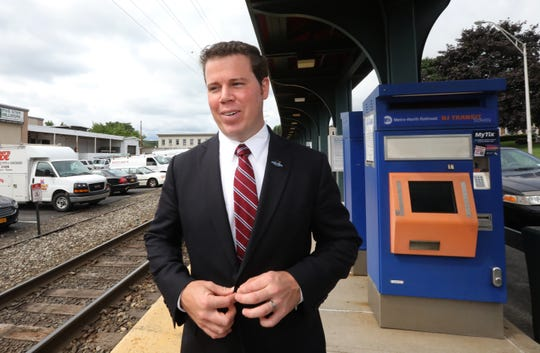 Orangetown Supervisor Chris Day talks about the town's transit oriented development study at the Pearl River Train Station Aug. 20, 2018.
