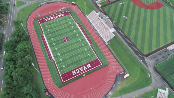 Drone photo of Nyack High School's athletic facilities on Aug. 20, 2018, has been recognized as one of the best high school sports venues due to recently completed renovations.