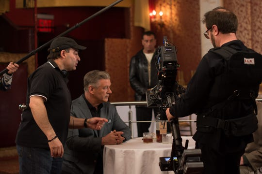 """Paul Borghese (left) directs Alec Baldwin in a scene from """"Back in the Day."""" The film is about an up-and-coming boxer from Bensonhurst who is taken under the wing of a mob boss."""