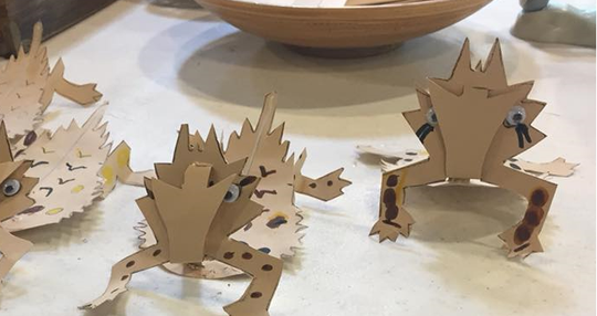 Paper Texas Horned Lizards constructed by kids at Camp River Bend Nature Center in Wichita Falls